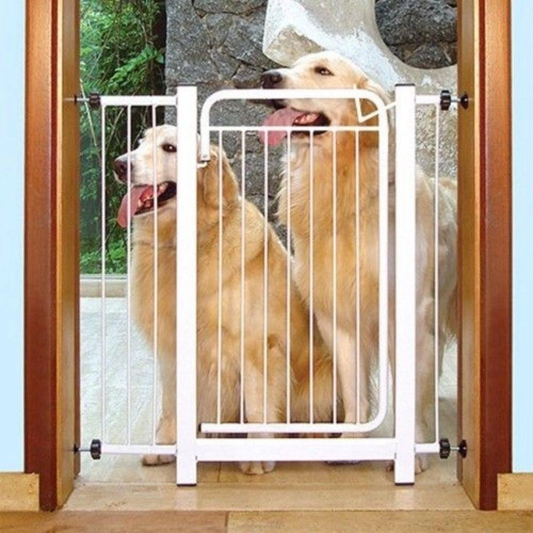 Portão Grade de Proteção para Criança e Pet L70xA80 Aço Cor Branca