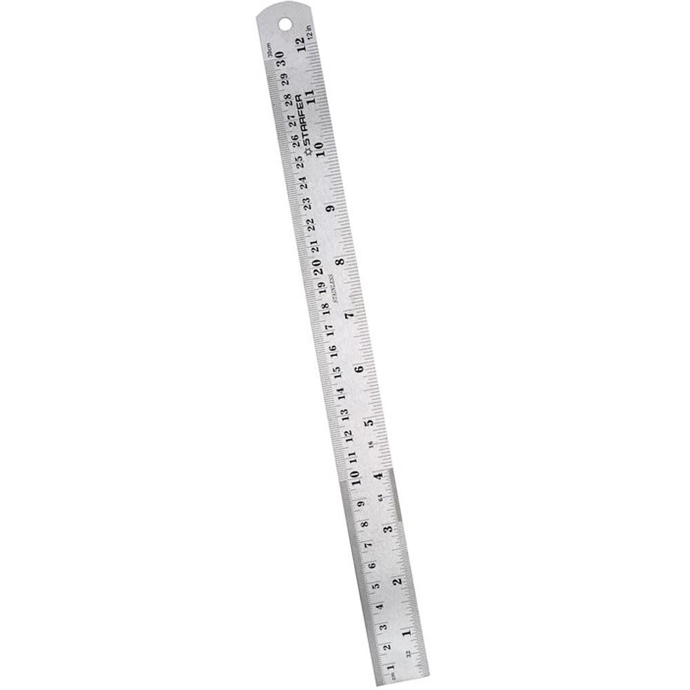 Régua Aço Inox 30cm 12 Polegadas Desenho Projeto Starfer