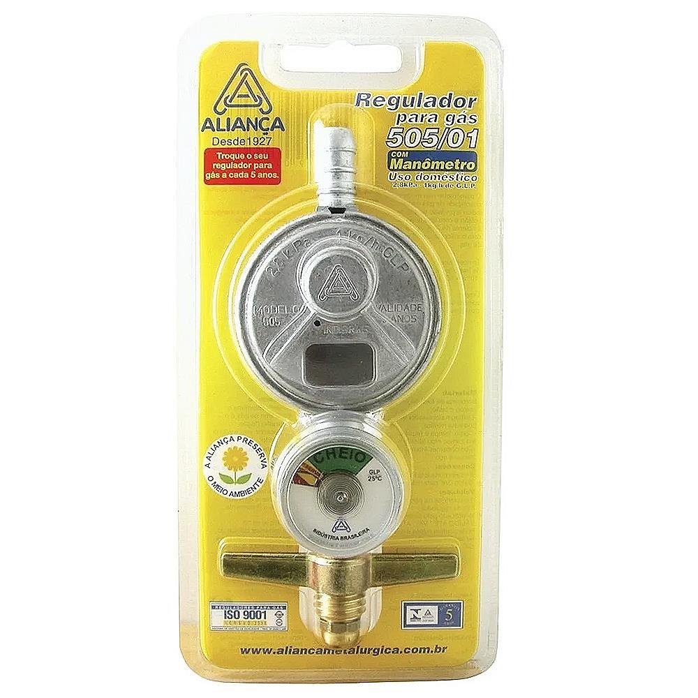 Regulador de gás com manômetro 505 Aliança