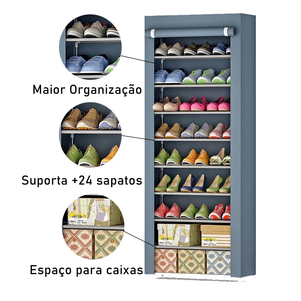 Sapateira Organizador 9 Prateleiras Sapatos 24 Pares Cinza