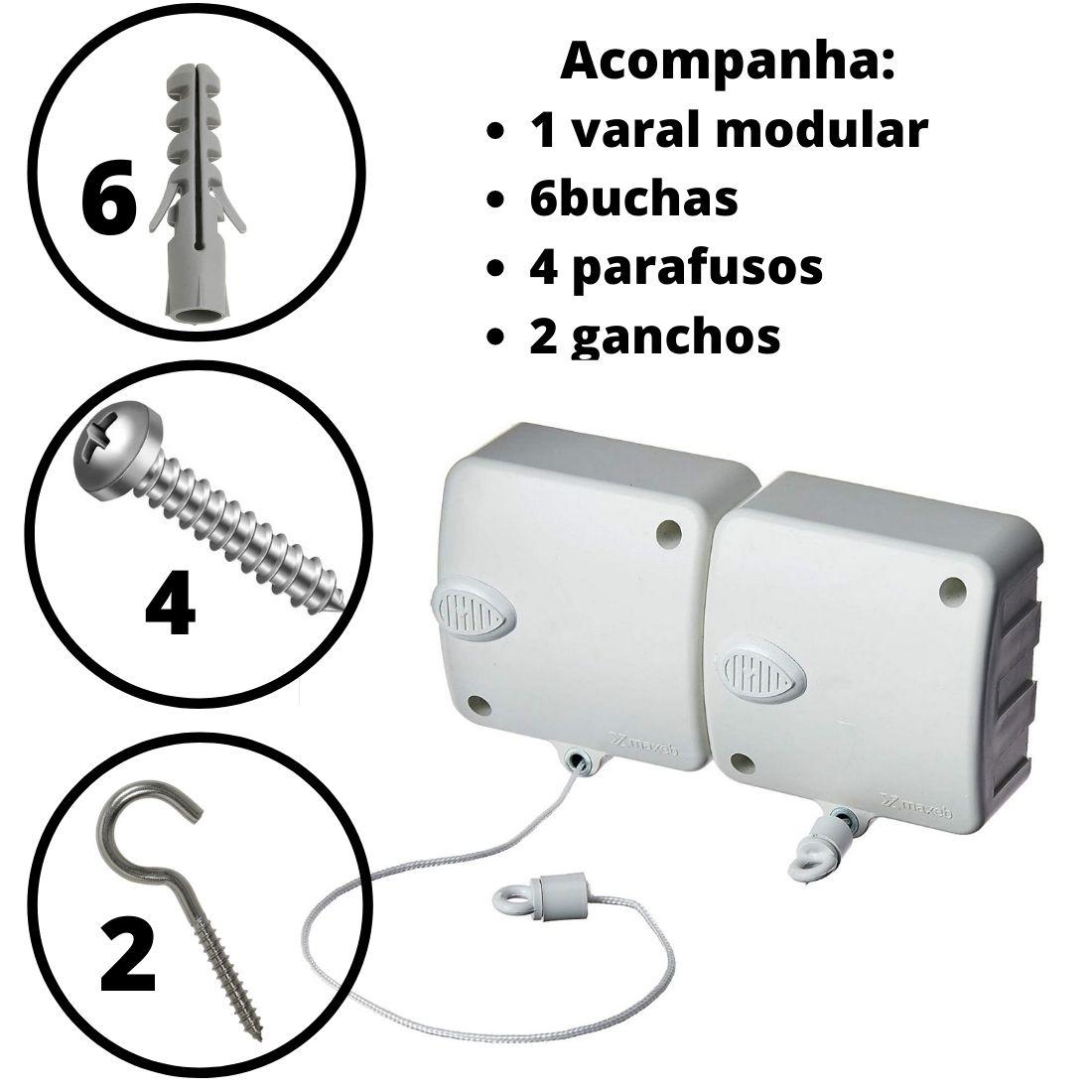 Varal Modular Recolhível Automático Seca Fácil Parede 2 Módulo 6m
