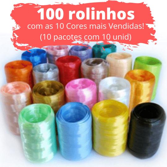 100 unidades de Fitilho Plástico 05mmx50m (10 Pacotes com 10 Rolinhos das Cores Mais Vendidas)