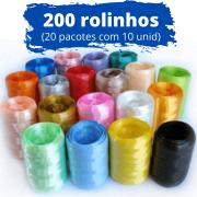 200 unidades de Fitilho Plástico 05mmx50m (20 Pacotes com 10 Rolinhos de Cores Sortidas)