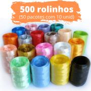 500 unidades de Fitilho Plástico 05mmx50m (50 Pacotes com 10 Rolinhos de Cores Sortidas)