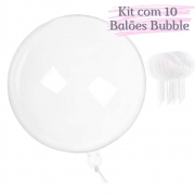Balão Bubble 10 Polegadas (25cm) Kit c/10