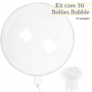 Balão Bubble Transparente 18 Polegadas (45 cm) Kit  c/30 unid