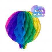 Balão Junino Arco Iris 25cm c/3