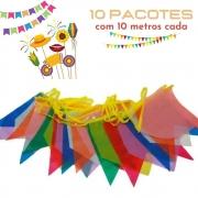 Bandeirinha Junina Plástica Pequena 10m Kit c/10 (Total 100m)