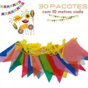 Bandeirinha Junina Plástica Pequena 10m Kit c/30 (Total 300m)