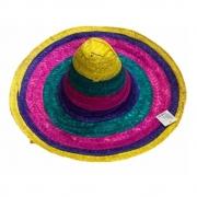 Chapéu Mexicano Colorido de Palha KIT c/50