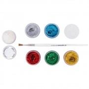 Glitter Gel com 6 cores, 1 Sombra e 1 Pincel