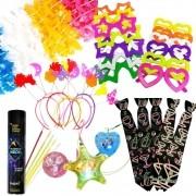 Kit Animafest Prata - 1 Tubo de Neon + 30 Colares Pisca + 10 Tiaras + 12 Gravatas + 20 Óculos + 5 dz Colares Havaiano