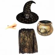 Kit Bruxa Infantil Dourado (Caldeirão dourado + Chapéu de bruxa lua/estrela + Saia Halloween + Nariz de bruxa)