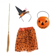 Kit Bruxa Infantil Laranja (Balde Abóbora + Tiara Chapéu laranja + Saia de tule Halloween laranja + Vassoura de 98 cm)