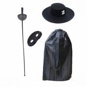 Kit Zorro Luxo (Capa + Chapéu + Espada e Máscara)