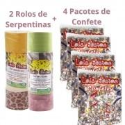 Kit Carnaval com 4 Confetes 120g + 2 Serpentinas (c/20 rolinhos)