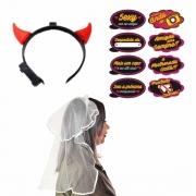 Kit Despedida de Solteira (Tiara véu de noiva + Tiara diabinho led +Plaquinhas despedida de solteira c/10 )