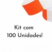 Kit Pulseira de Identificação c/100 - Laranja