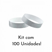 Kit Pulseira de Identificação c/100 - Prata