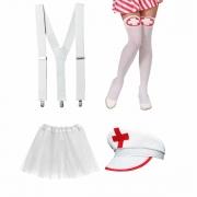Kit Enfermeira Completo (Saia de Tule Branca + Quepe Enfermeira + Suspensório Branco + Meia Calça Enfermeira)