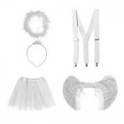 Kit Anjinha (Saia de Tule Branca + Suspensório Branco + Tiara Anjo com Aureola + Asa de Anjo Branca Pequena)