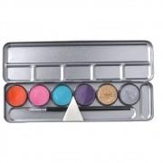 Paleta Aquacolor 6 Cores e Esponja Colormake - Cores Secundárias 24g