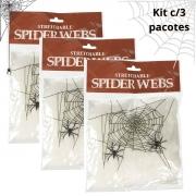 Teia de Aranha Branca para Halloween 20g Kit c/3