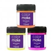 Tinta Facial Liquida Fluorescente 15 ml c/ 6 (3 cores, 2 de cada)