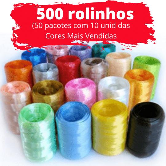 500 unidades de Fitilho Plástico 05mmx50m (50 Pacotes com 10 Rolinhos de cada cor mais vendida)