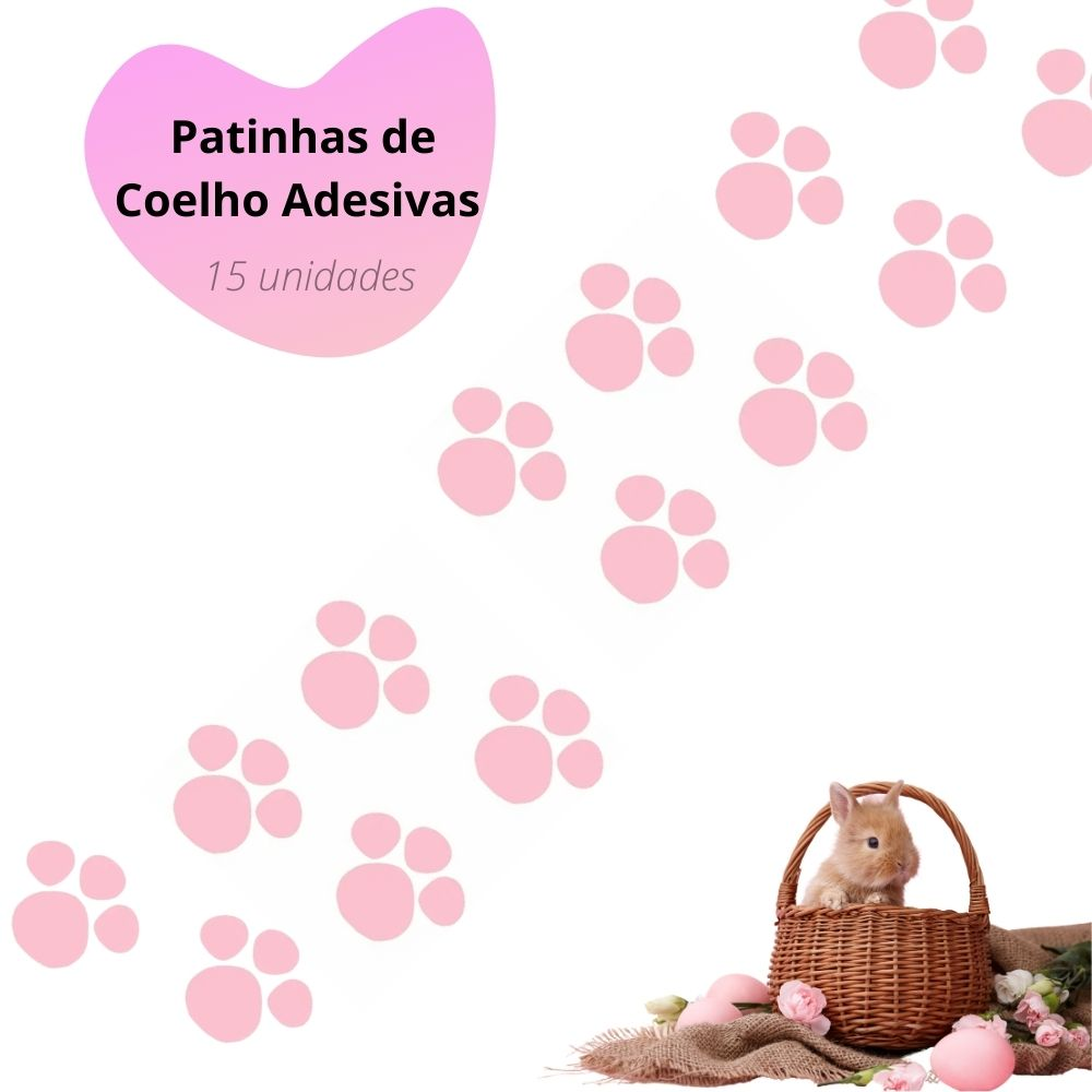 Adesivo Patinhas de Coelho com 15 Cor Rosa