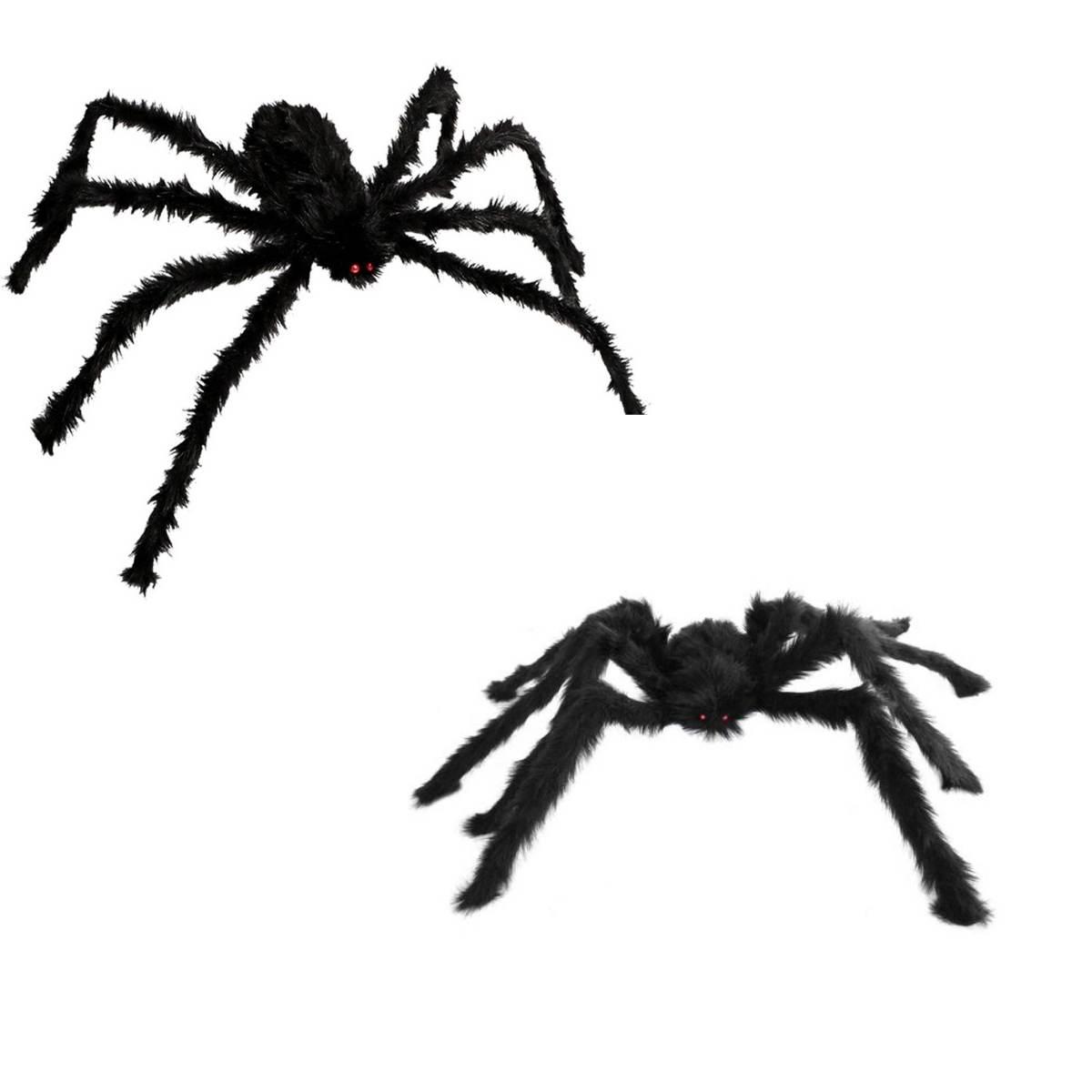 Aranha Peluciada Halloween Kit c/2 (1 de 50cm e 1 de 75cm)