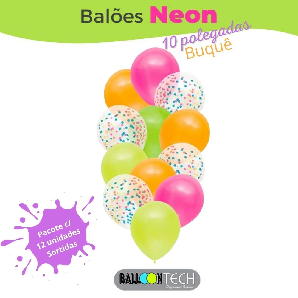 Balão 10 Balloontech Buquê Neon com 12 unid