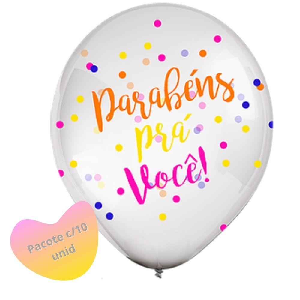 Balão 10 Parabéns Colorido Confetti Plus c/ 10