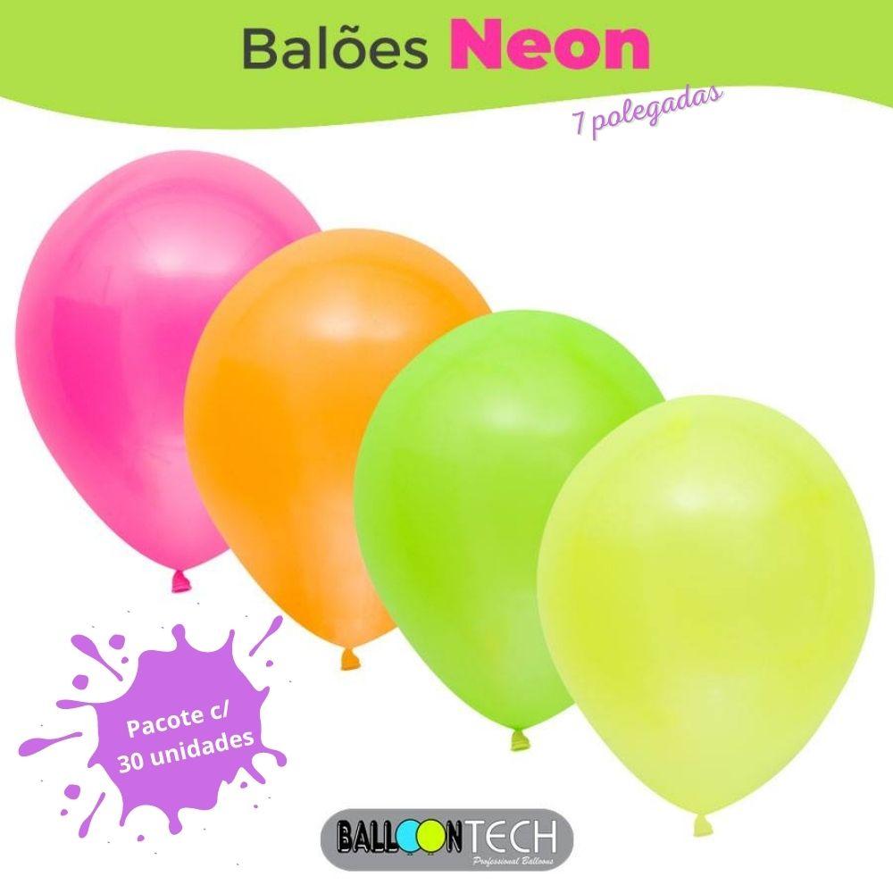 Balão 7 Balloontech  Neon Sortido com 30 unid