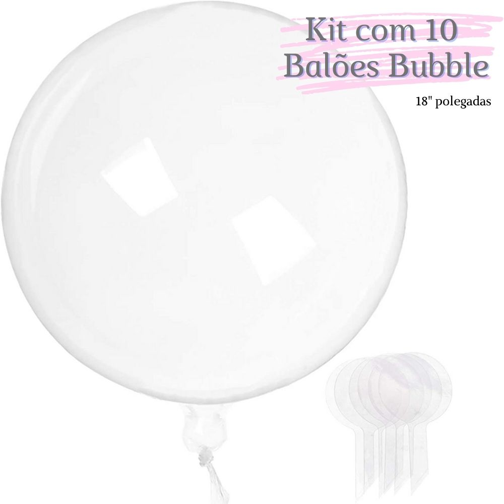 Balão Bubble Transparente 18 Polegadas (45 cm) Kit  c/10 unid