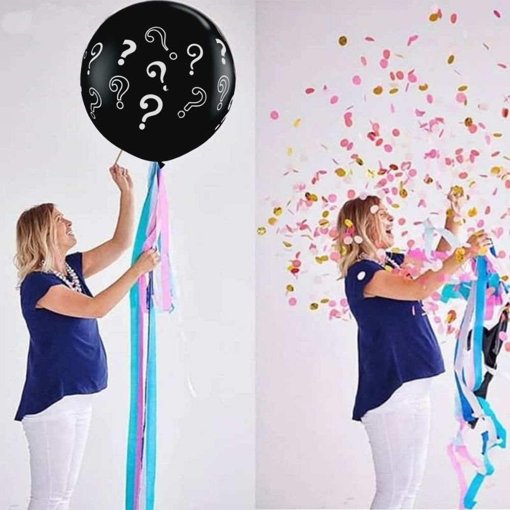 Balão Chá Revelação Gigante Interrogação Preto 45cm UN