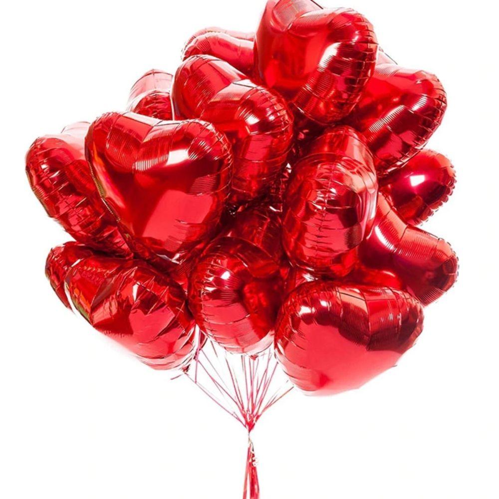 Balão Coração Metalizado 18 Polegadas c/ 10 (5 Rosé e 5 Vermelho)