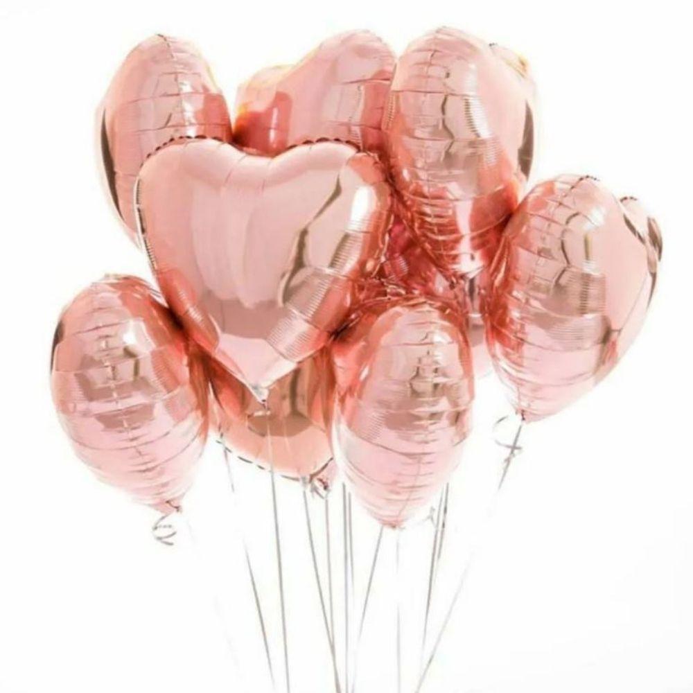 Balão Coração Metalizado 18 Polegadas c/ 10 Rosé
