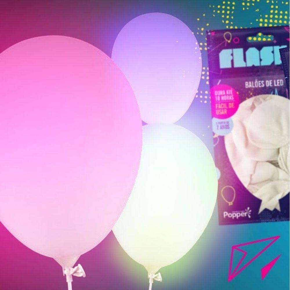 Balão Latex de Led Flash Ball com 5 unidades