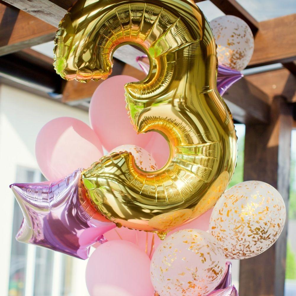 Balão Números Metalizados Dourado 40cm