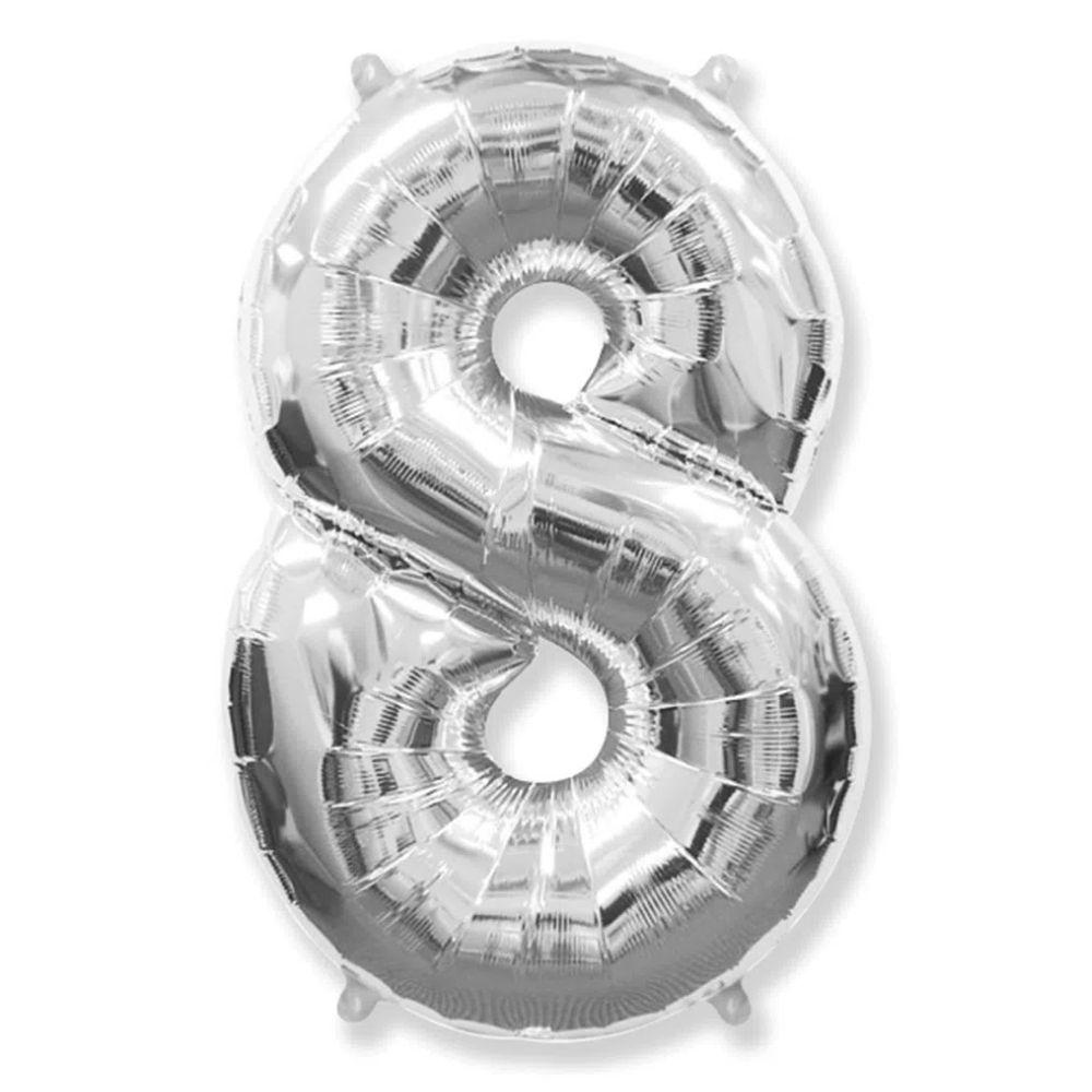 Balão Números Metalizados Prata 40cm
