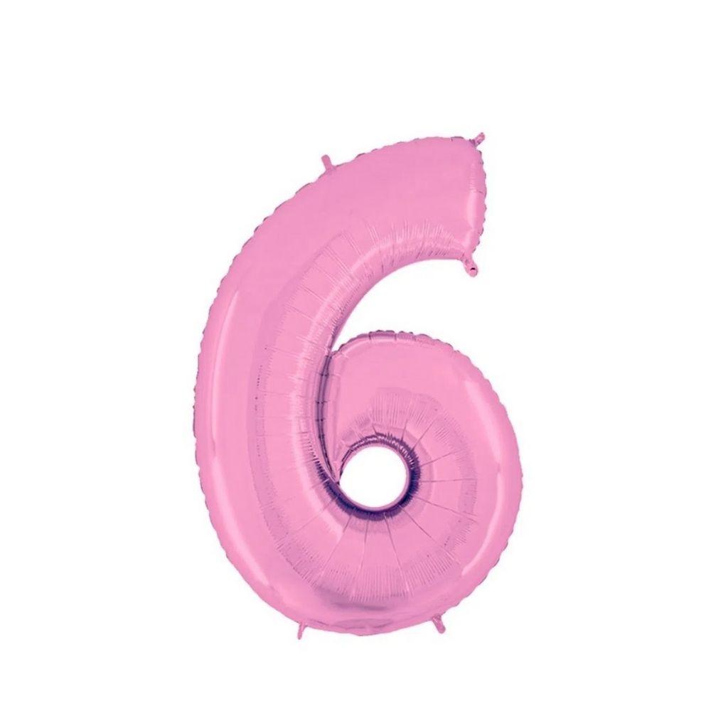 Balão Números Metalizados Rosa 40cm