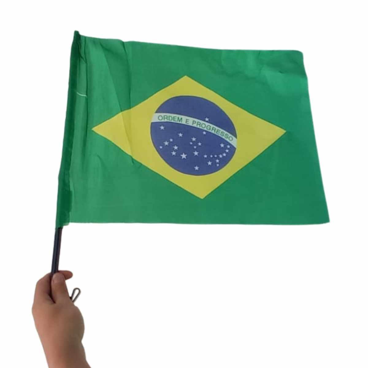 Bandeira do Brasil Tecido Para Carro c/ Haste 30x40cm
