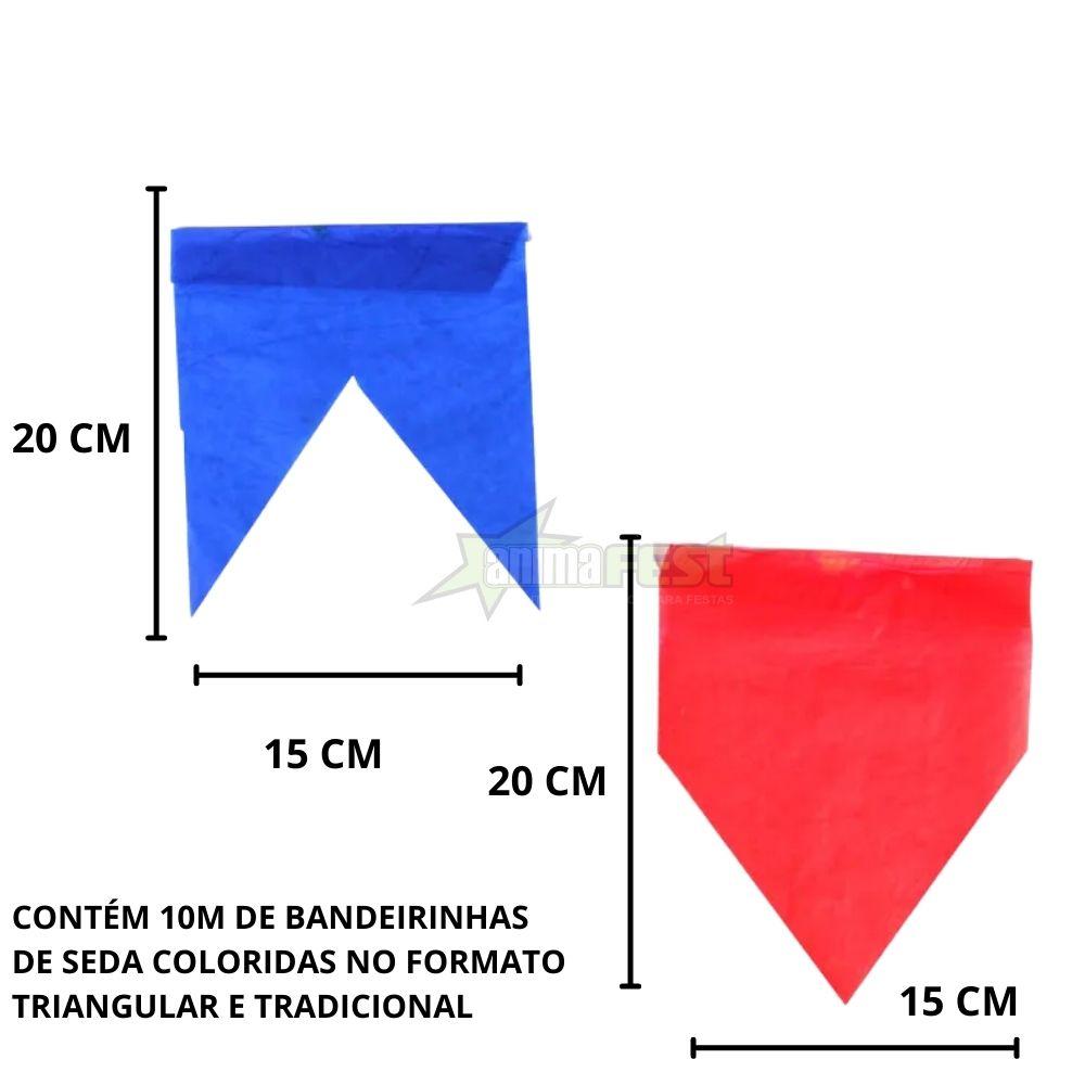 Bandeirinha Junina Papel de Seda 10m Kit c/10 (total 100m)