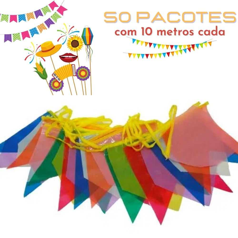 Bandeirinha Junina Plástica Pequena 10m Kit c/50 (Total 500m)