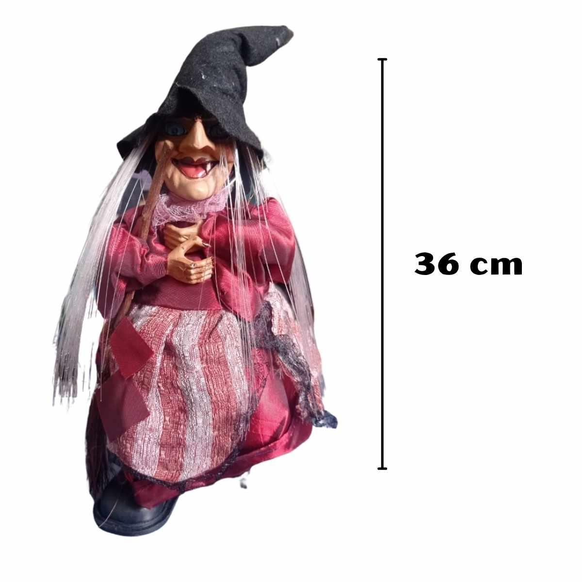 Bruxa com Vassoura Som/Luz/Movimento 36cm