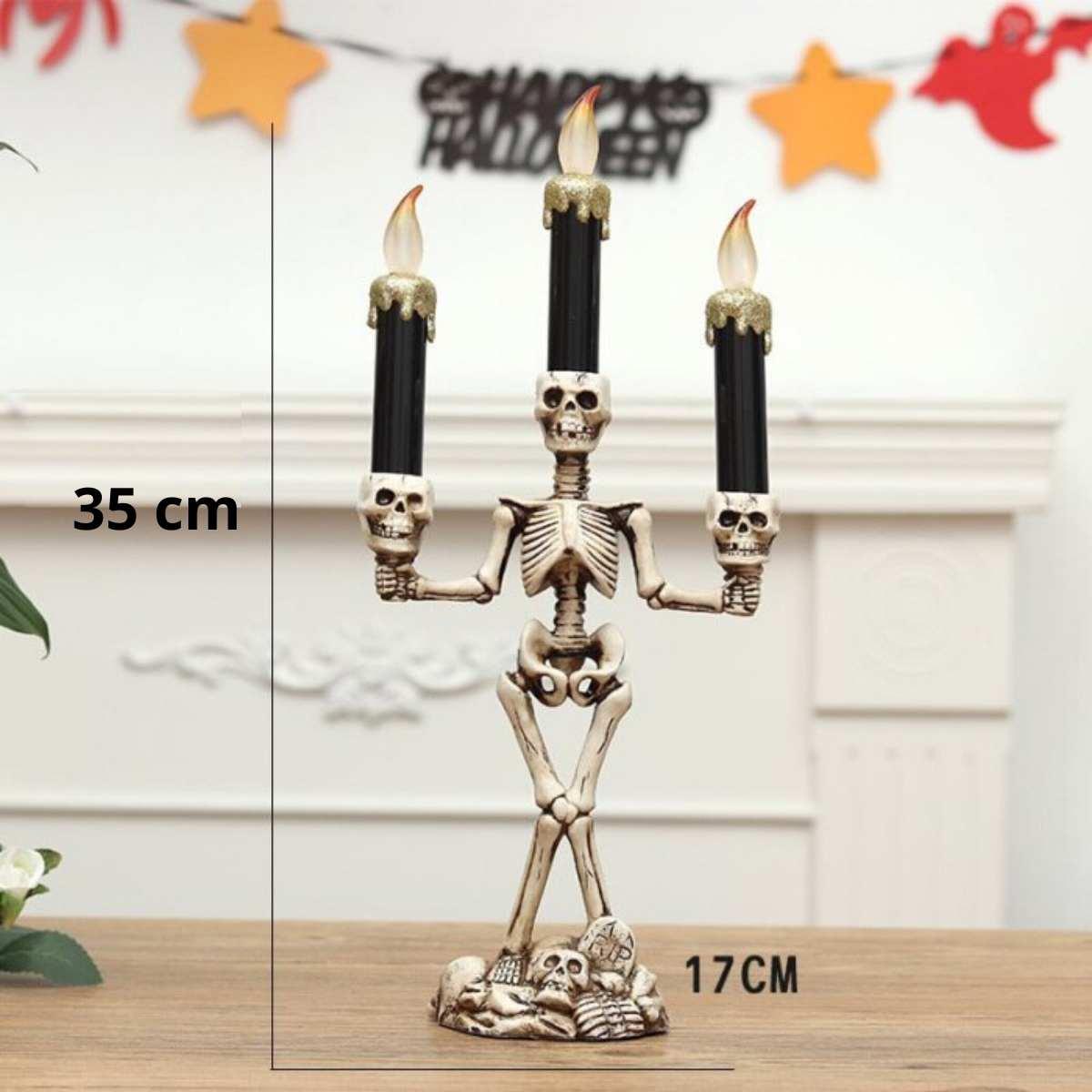 Candelabro Esqueleto c/3 Velas 35cm