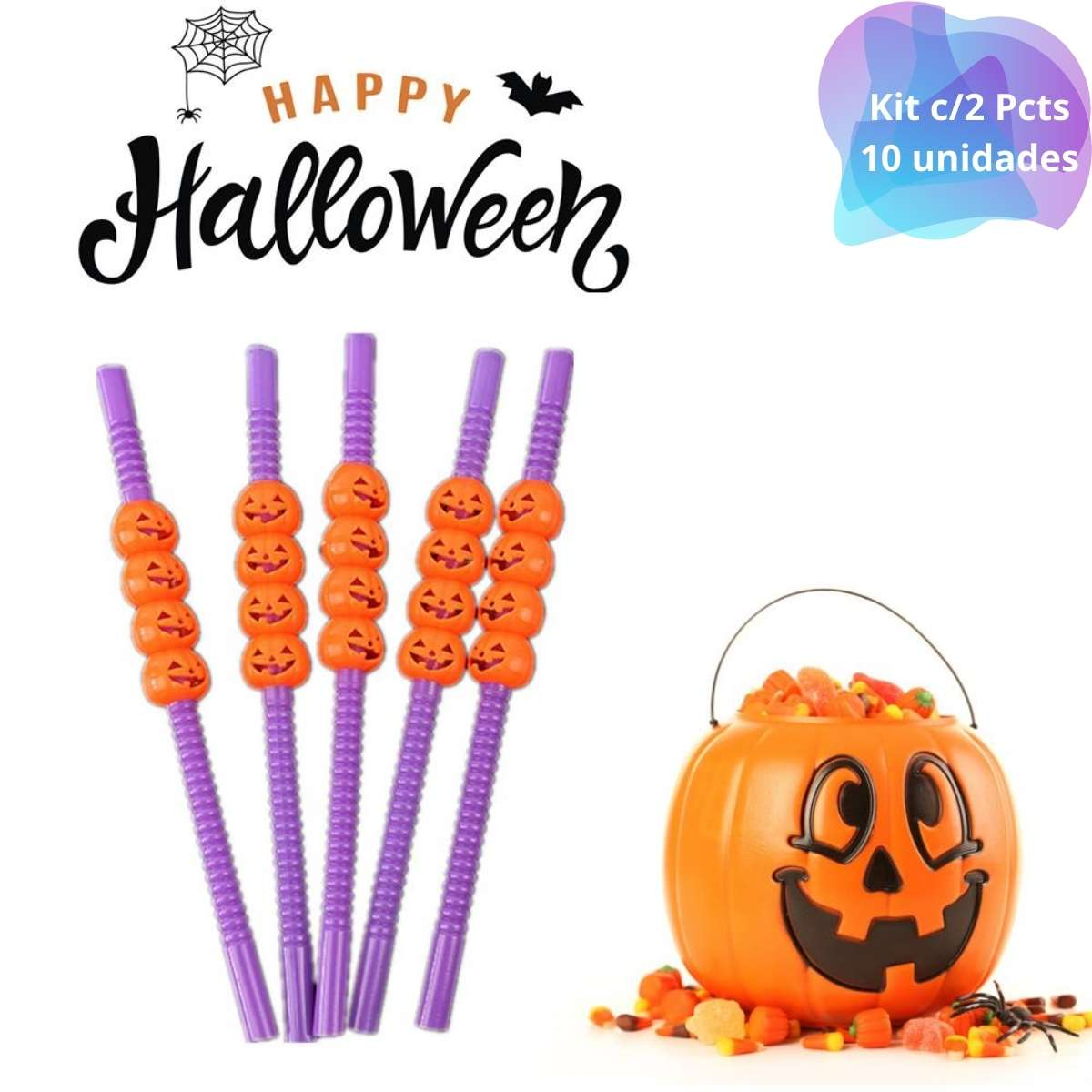 Canudo Halloween Kit c/2 Pcts (total 10 unidades)