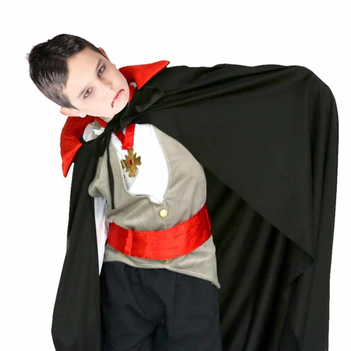 Capa Dracula Infantil com Gola Vermelha Poliéster 1,00m