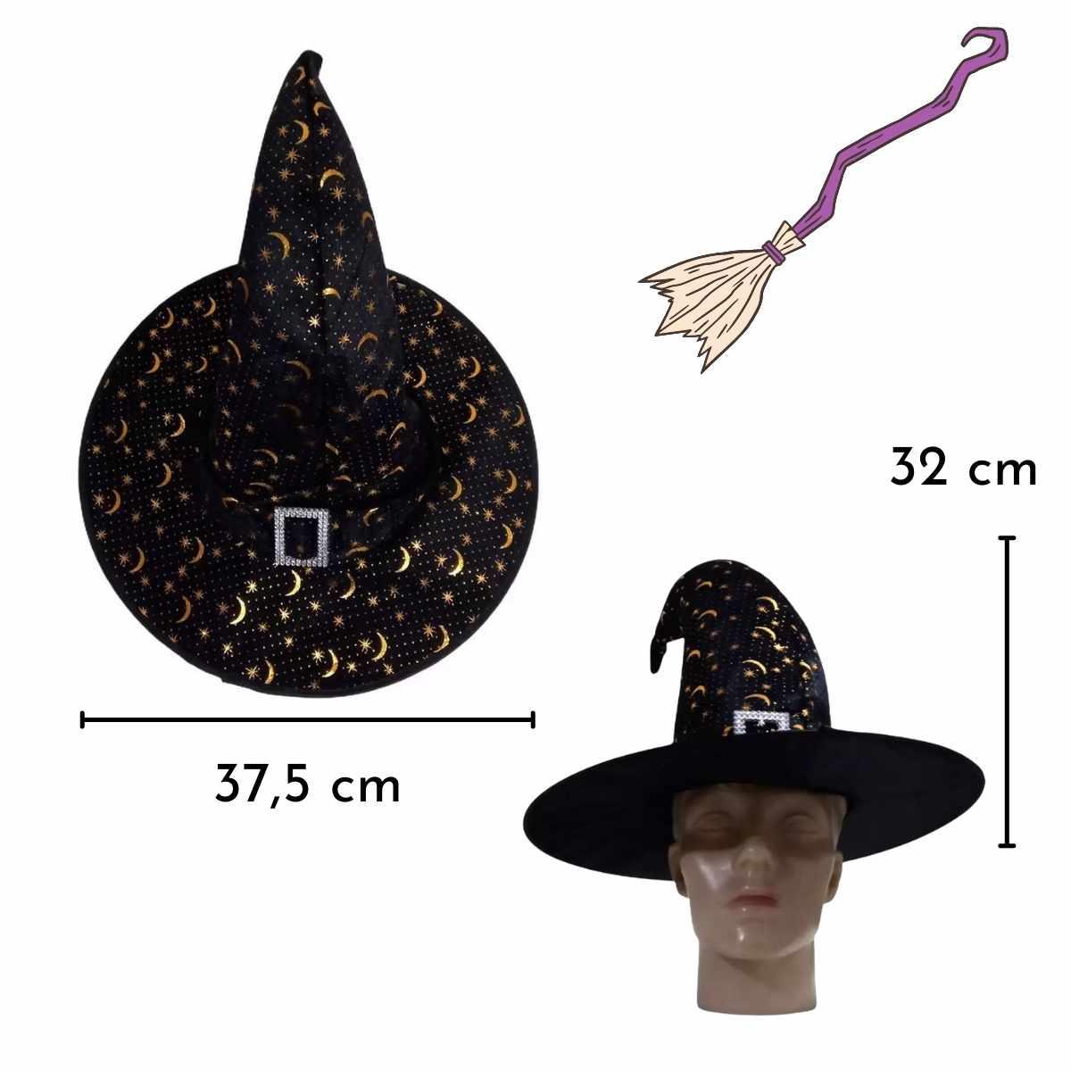 Chapéu de Bruxa Lua/Estrela com Fivela